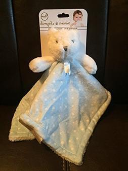 Bear with Light Blue & White Polka Dot Baby Security Blanket
