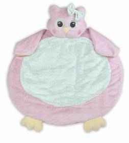 Bearington Baby Lil' Hoots Belly Blanket, Pink Owl Plush Stu
