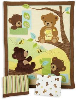 Bedtime Originals Honey Bear 3 Piece Crib Bedding Set, Brown