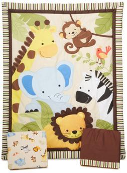 Bedtime Originals Jungle Buddies 3 Piece Crib Bedding Set, B