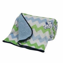 Bedtime Originals Snoopy Chevron Blanket, Velour/Sherpa