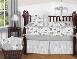 Blue Grey and White Woodland Animal Safari Baby Boys 9 Piece