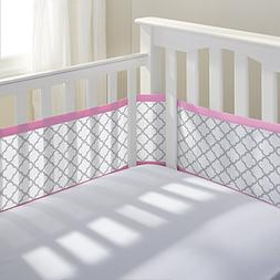 Breathable Baby Crib Liner Gray Clover