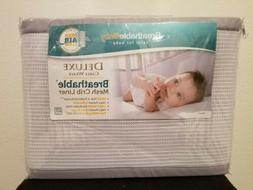 BreathableBaby Deluxe Breathable Mesh Crib Liner, Gray