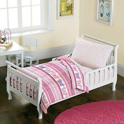 Butterfly Dots Pink Girls 4-Piece Toddler Bedding Set