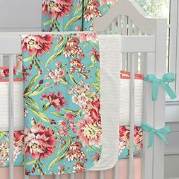 Carousel Designs Coral and Teal Floral Crib Blanket