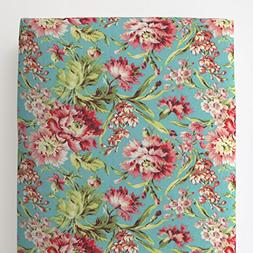 Carousel Designs Coral and Teal Floral Toddler Bed Sheet Fit