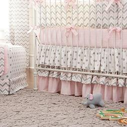 Carousel Designs Pink and Gray Chevron 2-Piece Crib Bedding