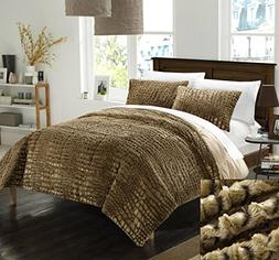 Chic Home 3 Piece New Faux Fur Collection with Mink Like Bac