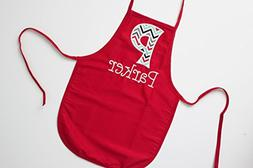 Child Size Red Apron with Name and Chevron Initial, Kids Apr