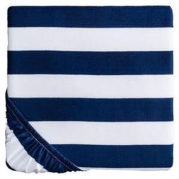 Circo® Rugby Stripe Woven Fitted Crib Sheet Navy blue