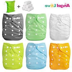 Cloth Diapers, Angel Love 6 Pack Diaper Covers+6 Diaper Inse
