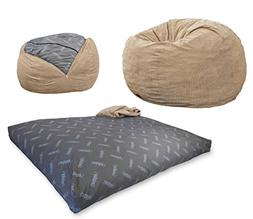 CordaRoyu0027s   Khaki Corduroy Convertible Bean Bag Chair   Ful