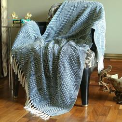 Cotton Teal Blue Throws Geometric Woven Soft Patio Throw Bla