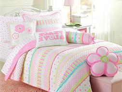 Cozy Line Home Fashions Pink Greta Pastel Polka Dot Green Bl