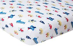 Crib Sheet Boy, Fitted - Planes Cars and Boats Frenchie Mini
