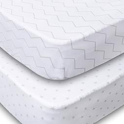 Crib Sheets, 2 Pack Unisex Chevron and Stars Fitted Soft Jer