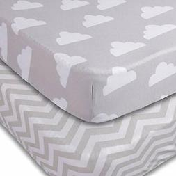 Crib Sheets, 2 Pack Unisex Clouds and Chevron Fitted Soft Je