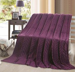 Décor&More Ultra Lush Fossil Leaf Microplush Throw Blanket