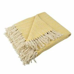 DII Rustic Farmhouse Cotton Chevron Blanket Throw with Fring