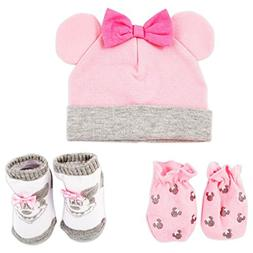 Disney Baby Girls Minnie Mouse Hat, Mitts and Socks Take Me
