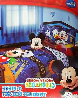 Disney Mickey Mouse 4pc Toddler Bedding Set ''Genuine Licens