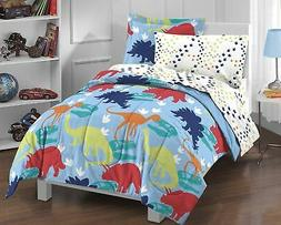 Dream Factory Dinosaur Prints Boys Comforter Set, Multi-Colo