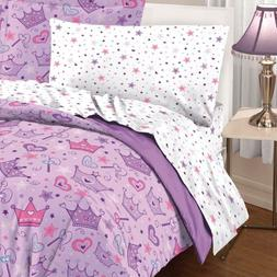 Dream Factory Purple Princess Hearts And Crowns Girls Comfor