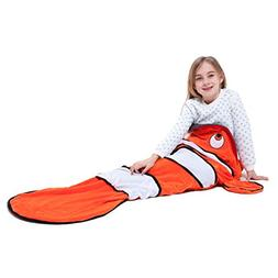 Echolife Clown Fish Tail Blanket Soft Fleece Children Sleepi
