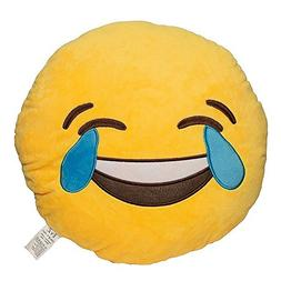EvZ 32cm Emoji Smiley Emoticon Yellow Round Cushion Stuffed