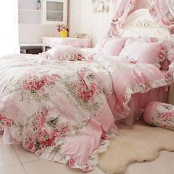 FADFAY Home Textile Pink Rose Floral Print Duvet Cover Beddi