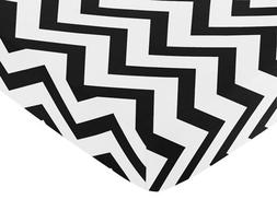 Fitted Crib Sheet for Black and White Chevron Collection Bab