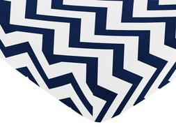 Fitted Crib Sheet for Navy and White Chevron Baby/Toddler Be