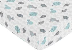 Sweet Jojo Designs Fitted Crib Sheet for Turquoise Blue and