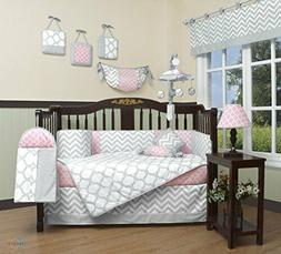 GEENNY Boutique Baby 13 Piece Crib Bedding Set, Salmon Pink/
