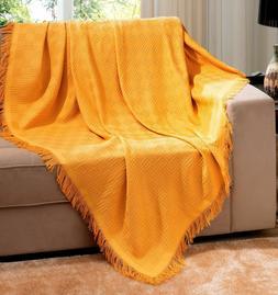Gold Brazilian Cotton London Throw Blanket With Fringe 63x87