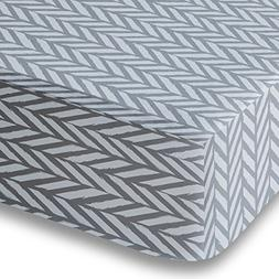 Blue Gray Herringbone Crib Sheet for Boys and Girls - Double