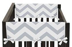 Sweet Jojo Designs 2-Piece Gray and White Chevron Zig Zag Te
