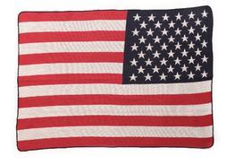 Green 3 US Flag Throw Blanket, Red/White/Blue
