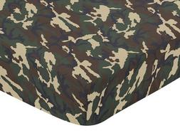 Sweet Jojo Designs Green Camo Fitted Crib Sheet for Baby and