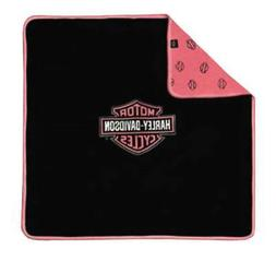 Harley-Davidson Black and Pink Receiving Blanket One Size