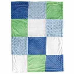 Hudson Baby Multi-Fabric 12-Panel Blanket, Blue