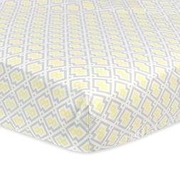 Just Born Cotton Fitted Crib Sheet, Grey/Yellow/White