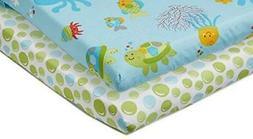 Little Bedding by NoJo Ocean Dreams - 2 Count Crib Sheet Set