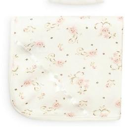 Little Me Baby Girls' Scroll Tag Along Blanket, Ivory Print,