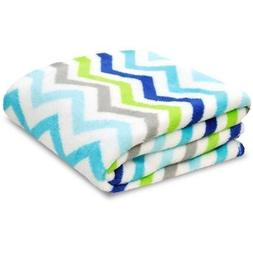 Little Starter Toddler Blanket, Blue Chevron, Super Soft and