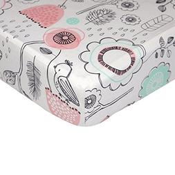 Lolli Living 100% Cotton Crib Fitted Sheet. Sparrow Pattern