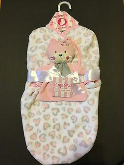 Lovespun Baby Sweet Bear 2 Piece Swaddle Blanket with Toy, P