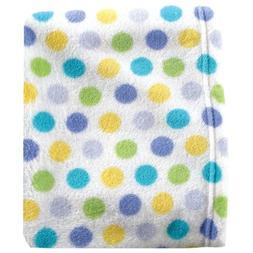 Luvable Friends Dot Print Coral Fleece Blanket, Blue