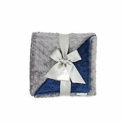 MEG Original Minky Dot Baby Boy Blanket Navy/Charcoal 374